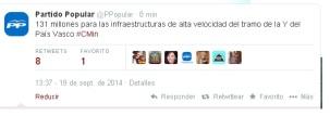 Imagen del Twitter oficial del PP anunciando el 19 de septiembre la inversión
